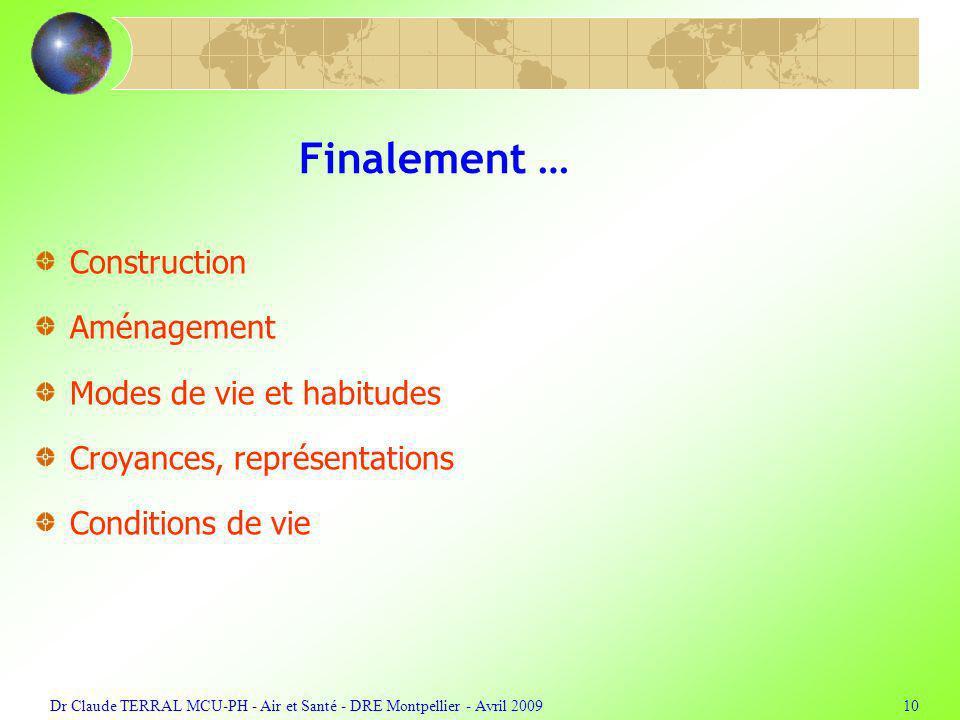 Dr Claude TERRAL MCU-PH - Air et Santé - DRE Montpellier - Avril 200910 Finalement … Construction Aménagement Modes de vie et habitudes Croyances, rep