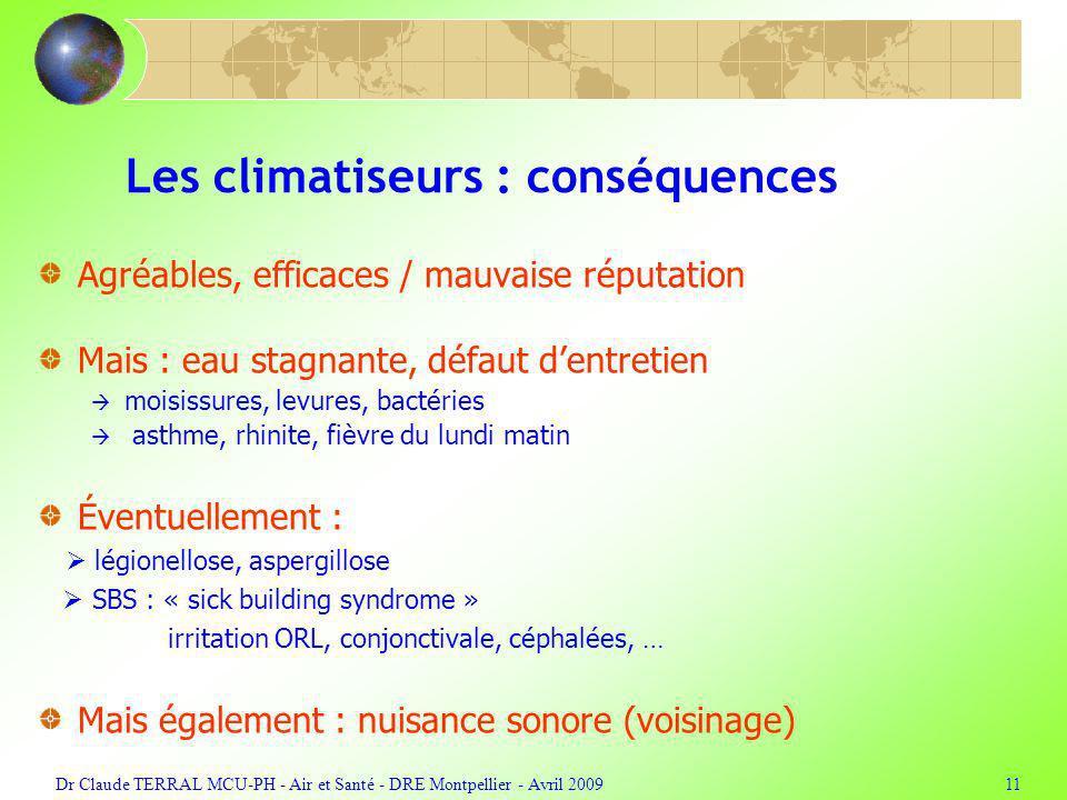 Dr Claude TERRAL MCU-PH - Air et Santé - DRE Montpellier - Avril 200911 Les climatiseurs : conséquences Agréables, efficaces / mauvaise réputation Mai