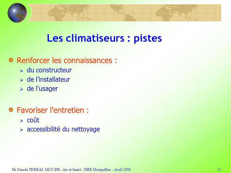 Dr Claude TERRAL MCU-PH - Air et Santé - DRE Montpellier - Avril 200912 Les climatiseurs : pistes Renforcer les connaissances : du constructeur de linstallateur de lusager Favoriser lentretien : coût accessibilité du nettoyage