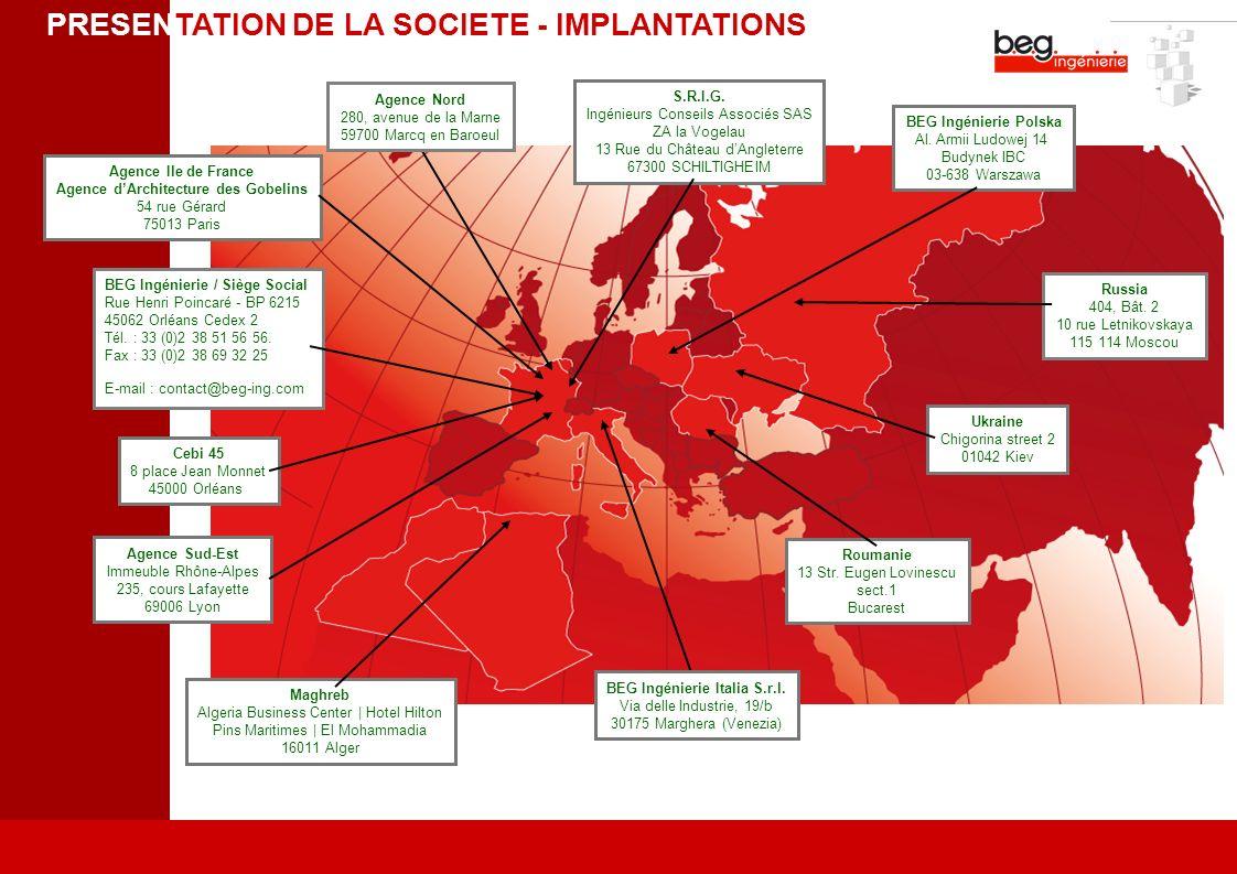 BEG Ingénierie / Siège Social Rue Henri Poincaré - BP 6215 45062 Orléans Cedex 2 Tél. : 33 (0)2 38 51 56 56. Fax : 33 (0)2 38 69 32 25 E-mail : contac