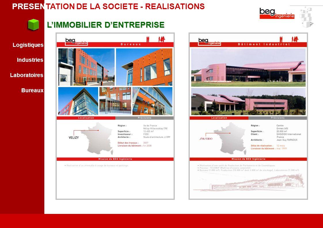LIMMOBILIER DENTREPRISE LIMMOBILIER DENTREPRISE Logistiques Industries Laboratoires Bureaux PRESENTATION DE LA SOCIETE - REALISATIONS