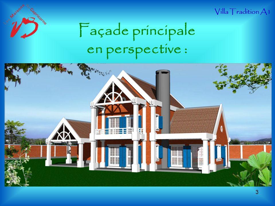 Façade principale en perspective : Villa Tradition A1 3