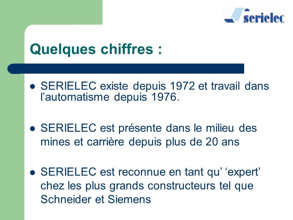 Quelques chiffres : SERIELEC existe depuis 1972 et travail dans lautomatisme depuis 1976. SERIELEC est présente dans le milieu des mines et carrière d