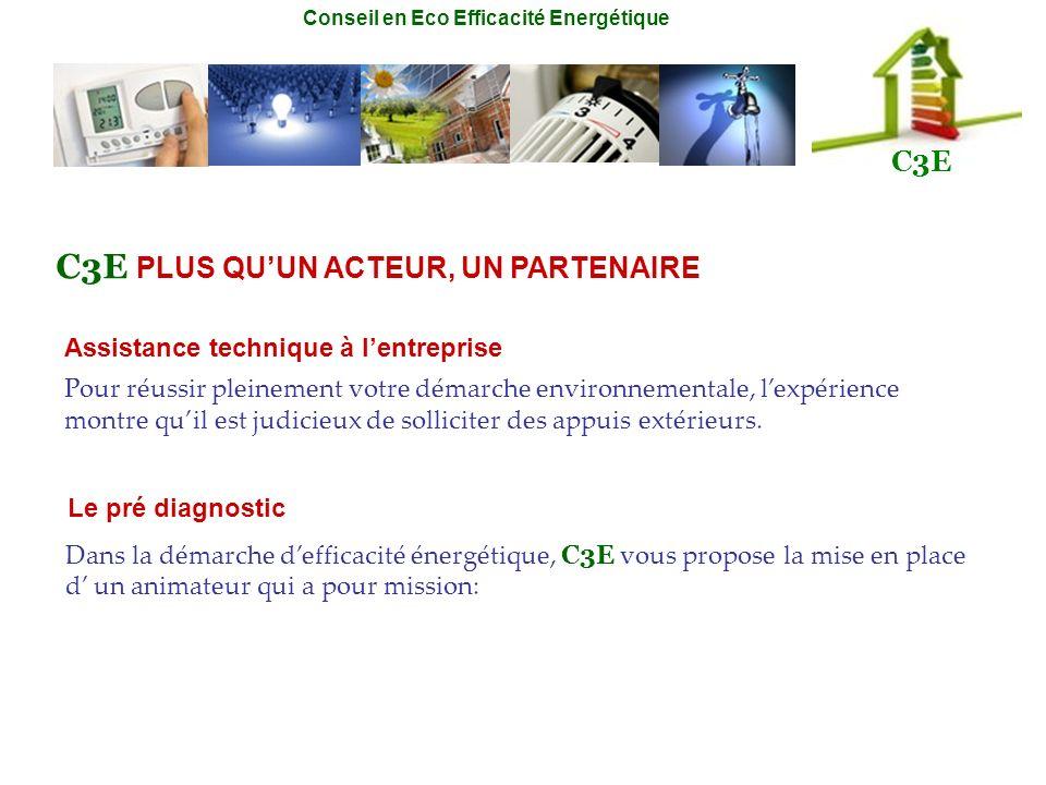 Conseil en Eco Efficacité Energétique C3E Assistance technique à lentreprise Dans la démarche defficacité énergétique, C3E vous propose la mise en pla