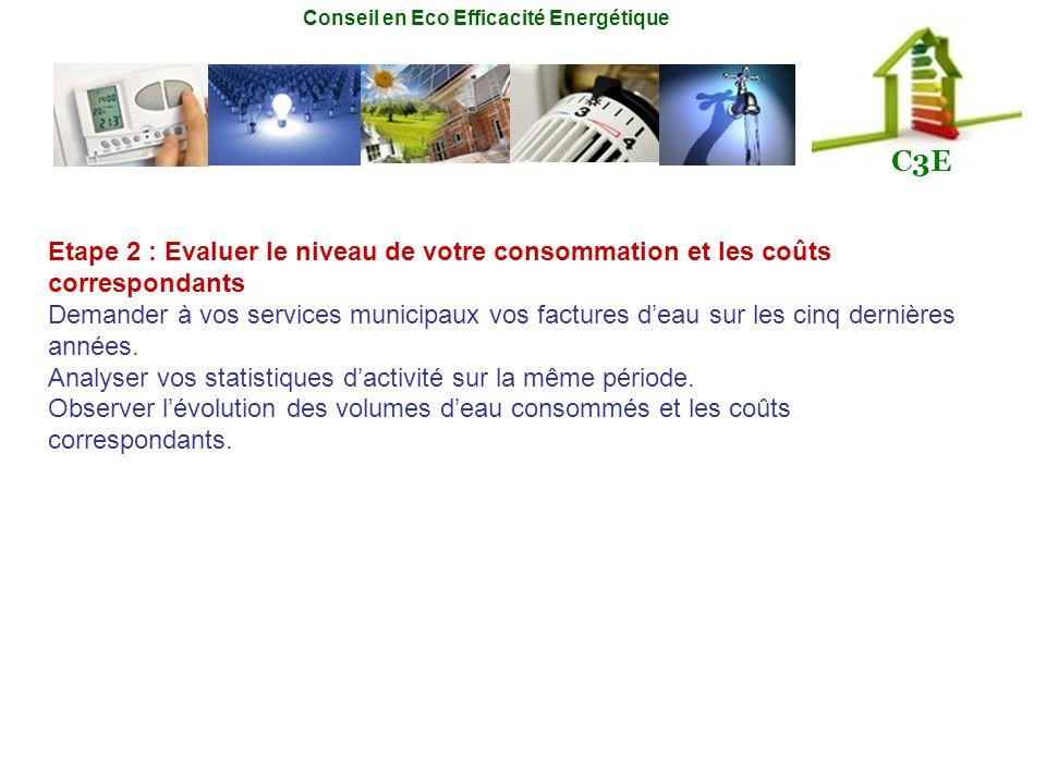 Conseil en Eco Efficacité Energétique C3E Etape 2 : Evaluer le niveau de votre consommation et les coûts correspondants Demander à vos services munici