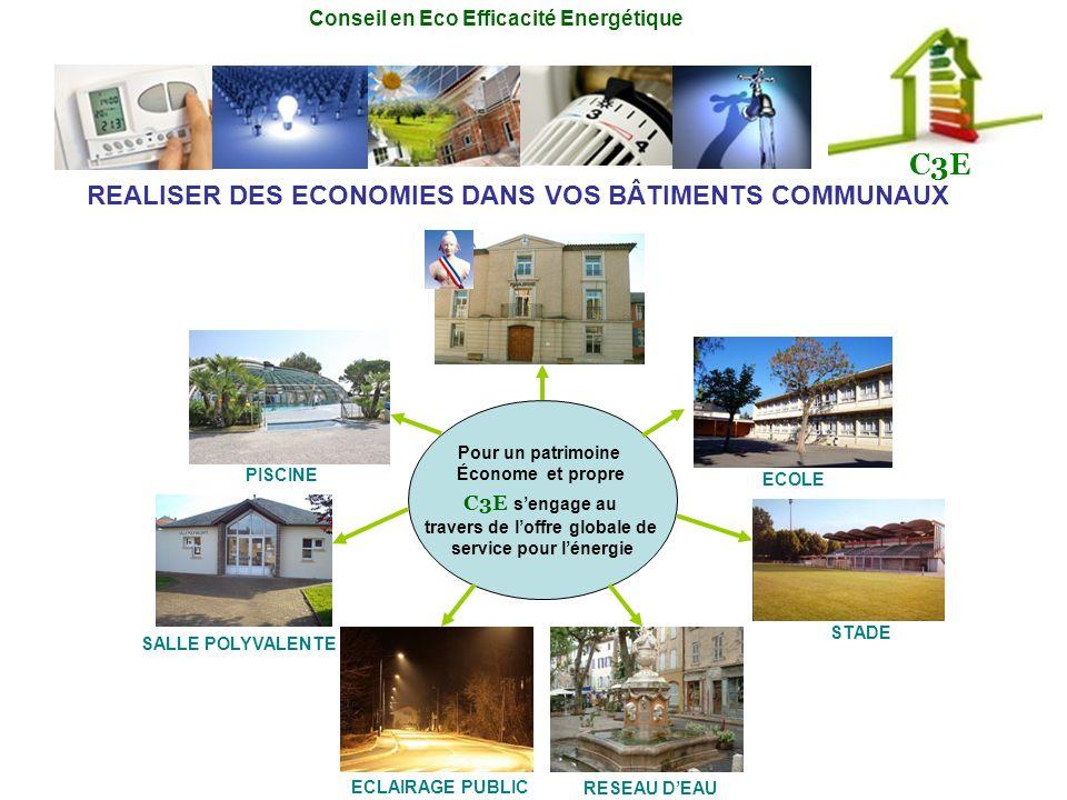 Conseil en Eco Efficacité Energétique C3E SALLE POLYVALENTE ECOLE STADE RESEAU DEAU PISCINE ECLAIRAGE PUBLIC Pour un patrimoine Économe et propre C3E