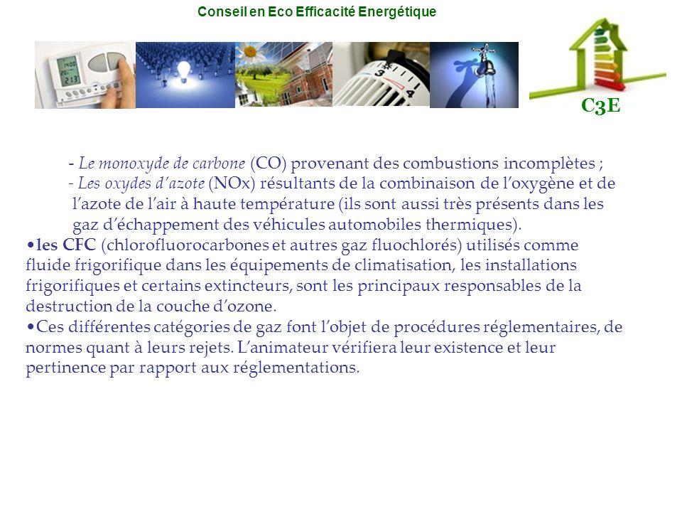 Conseil en Eco Efficacité Energétique C3E - Le monoxyde de carbone (CO) provenant des combustions incomplètes ; - Les oxydes dazote (NOx) résultants d
