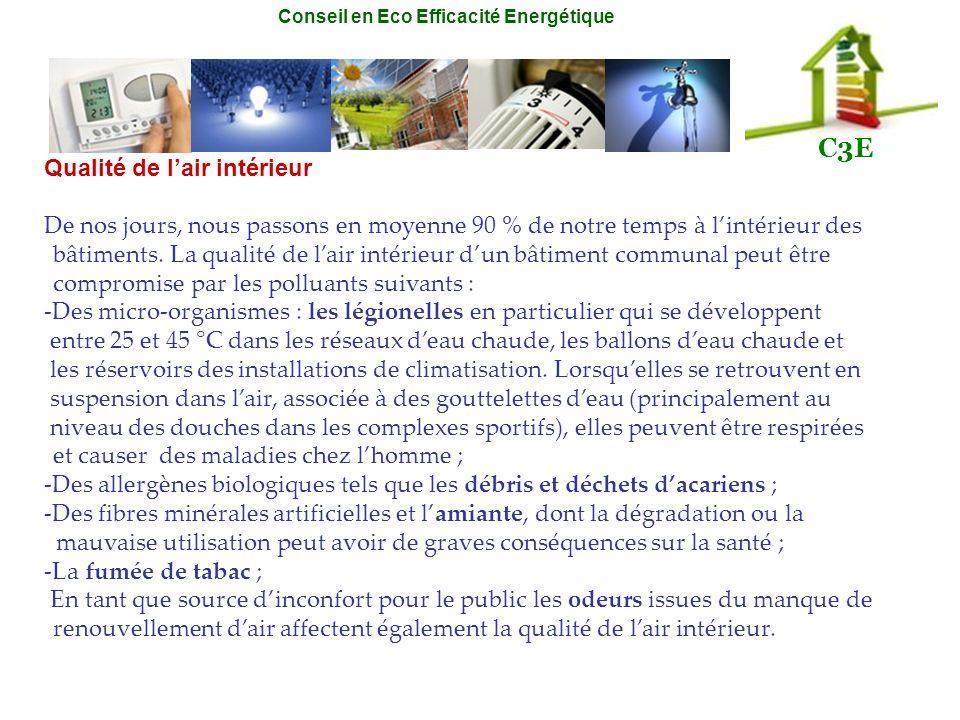 Conseil en Eco Efficacité Energétique C3E Qualité de lair intérieur De nos jours, nous passons en moyenne 90 % de notre temps à lintérieur des bâtimen