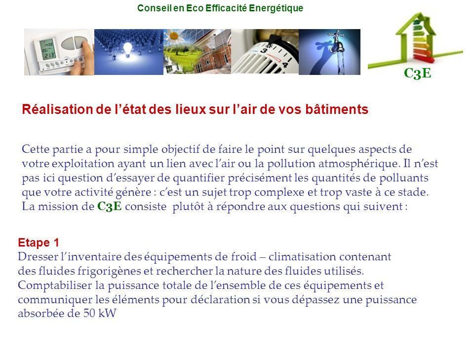 Conseil en Eco Efficacité Energétique C3E Réalisation de létat des lieux sur lair de vos bâtiments Cette partie a pour simple objectif de faire le poi