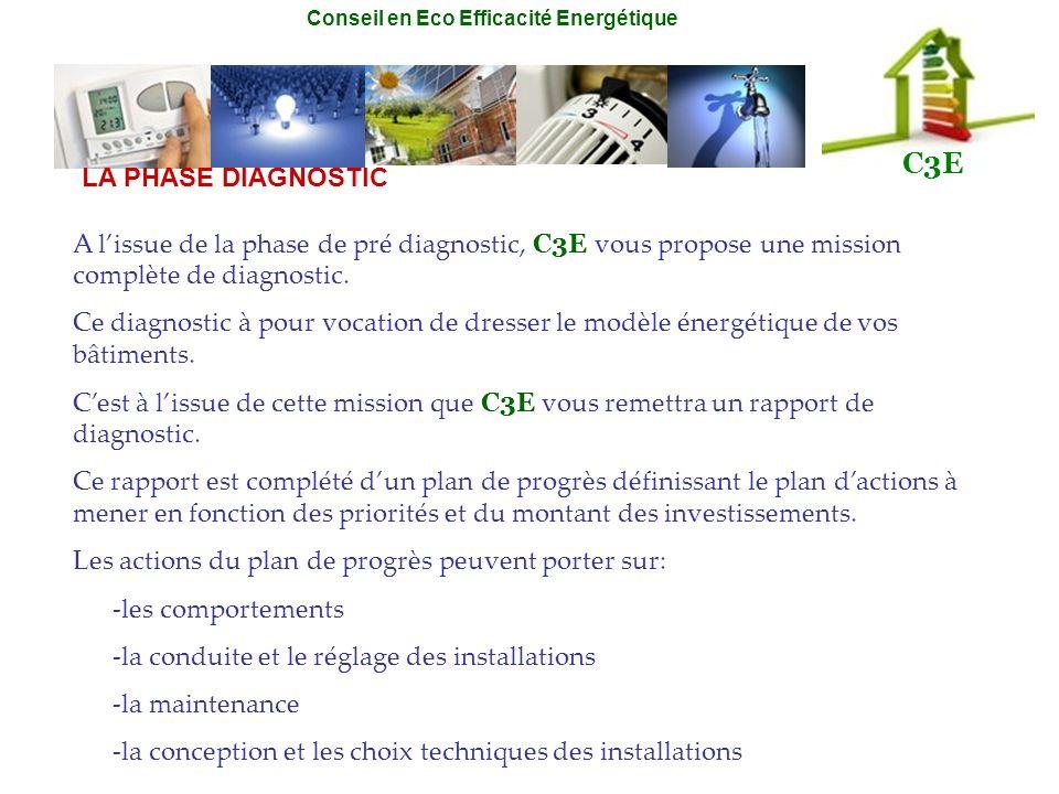 Conseil en Eco Efficacité Energétique C3E LA PHASE DIAGNOSTIC A lissue de la phase de pré diagnostic, C3E vous propose une mission complète de diagnos