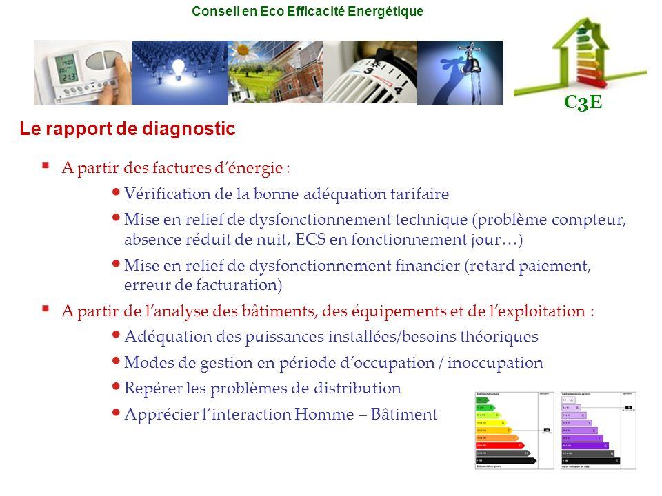 Conseil en Eco Efficacité Energétique C3E A partir des factures dénergie : Vérification de la bonne adéquation tarifaire Mise en relief de dysfonction
