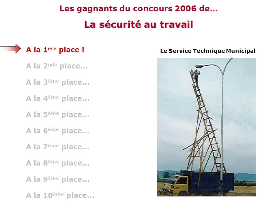 Les gagnants du concours 2006 de… La sécurité au travail A la 10 ème place... A la 9 ème place... A la 8 ème place... A la 7 ème place... A la 6 ème p