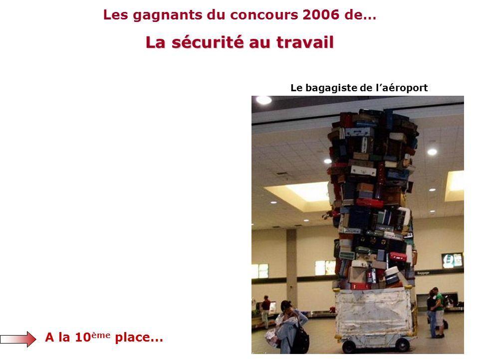 Les gagnants du concours 2006 de… La sécurité au travail A la 10 ème place... Le bagagiste de laéroport