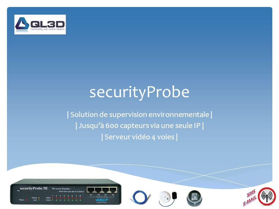 securityProbe | Solution de supervision environnementale | | Jusquà 600 capteurs via une seule IP | | Serveur vidéo 4 voies |