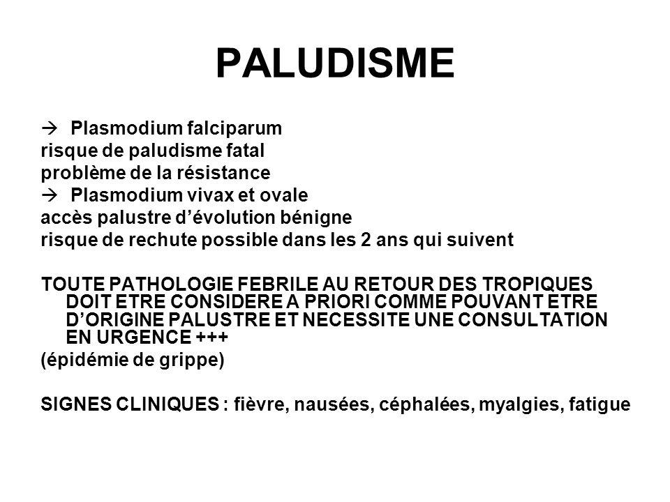 PALUDISME Plasmodium falciparum risque de paludisme fatal problème de la résistance Plasmodium vivax et ovale accès palustre dévolution bénigne risque de rechute possible dans les 2 ans qui suivent TOUTE PATHOLOGIE FEBRILE AU RETOUR DES TROPIQUES DOIT ETRE CONSIDERE A PRIORI COMME POUVANT ETRE DORIGINE PALUSTRE ET NECESSITE UNE CONSULTATION EN URGENCE +++ (épidémie de grippe) SIGNES CLINIQUES : fièvre, nausées, céphalées, myalgies, fatigue