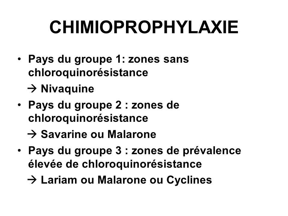 CHIMIOPROPHYLAXIE Pays du groupe 1: zones sans chloroquinorésistance Nivaquine Pays du groupe 2 : zones de chloroquinorésistance Savarine ou Malarone Pays du groupe 3 : zones de prévalence élevée de chloroquinorésistance Lariam ou Malarone ou Cyclines