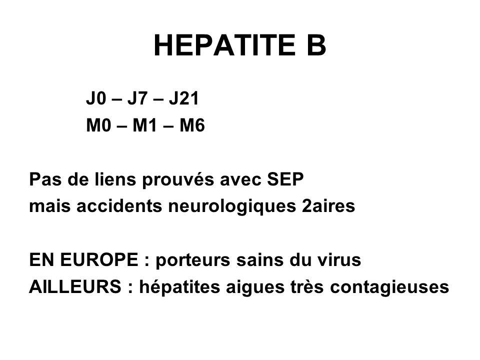 HEPATITE B J0 – J7 – J21 M0 – M1 – M6 Pas de liens prouvés avec SEP mais accidents neurologiques 2aires EN EUROPE : porteurs sains du virus AILLEURS : hépatites aigues très contagieuses