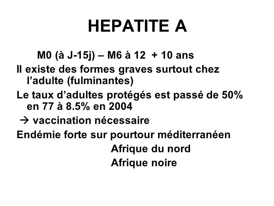 HEPATITE A M0 (à J-15j) – M6 à 12 + 10 ans Il existe des formes graves surtout chez ladulte (fulminantes) Le taux dadultes protégés est passé de 50% en 77 à 8.5% en 2004 vaccination nécessaire Endémie forte sur pourtour méditerranéen Afrique du nord Afrique noire