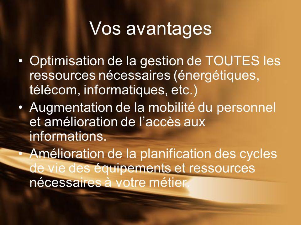 Vos avantages Optimisation de la gestion de TOUTES les ressources nécessaires (énergétiques, télécom, informatiques, etc.) Augmentation de la mobilité du personnel et amélioration de laccès aux informations.