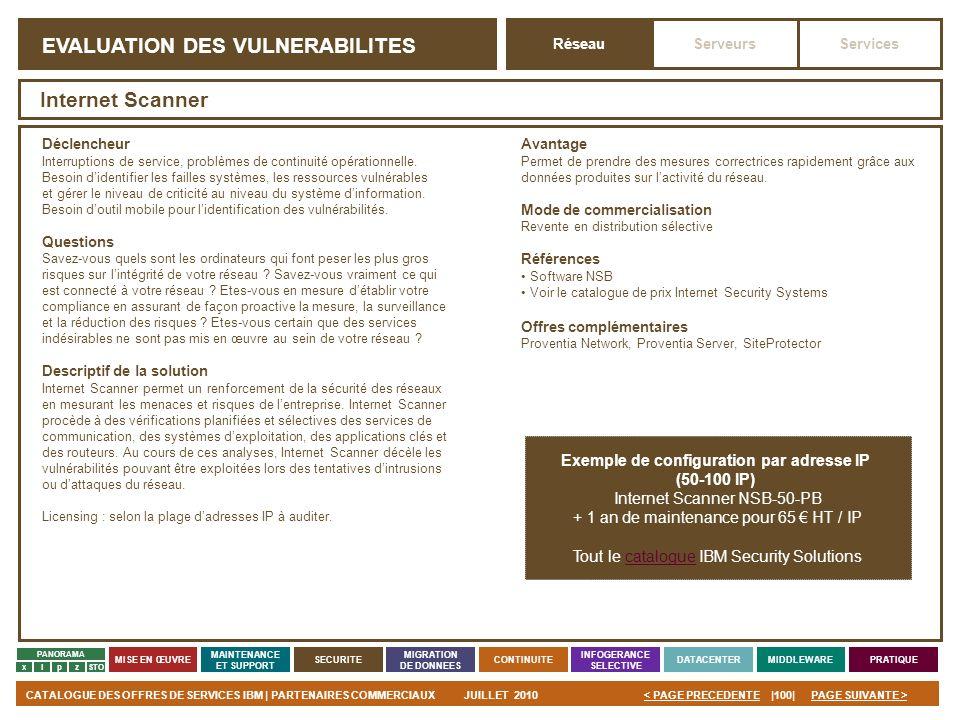 PAGE SUIVANTE >CATALOGUE DES OFFRES DE SERVICES IBM | PARTENAIRES COMMERCIAUXJUILLET 2010|100|< PAGE PRECEDENTE PANORAMA MISE EN ŒUVRE MAINTENANCE ET