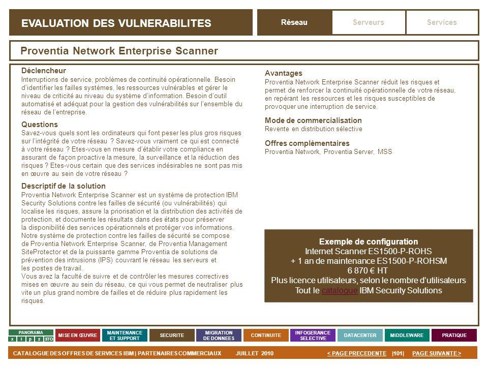 PAGE SUIVANTE >CATALOGUE DES OFFRES DE SERVICES IBM | PARTENAIRES COMMERCIAUXJUILLET 2010|101|< PAGE PRECEDENTE PANORAMA MISE EN ŒUVRE MAINTENANCE ET