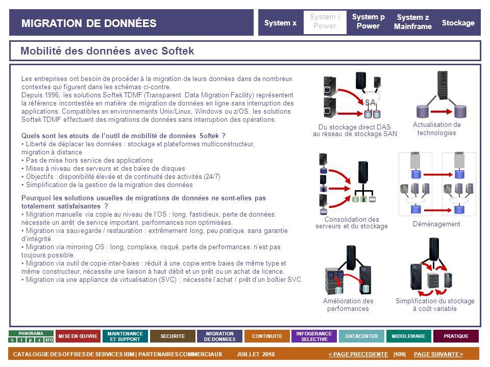 PAGE SUIVANTE >CATALOGUE DES OFFRES DE SERVICES IBM | PARTENAIRES COMMERCIAUXJUILLET 2010|109|< PAGE PRECEDENTE PANORAMA MISE EN ŒUVRE MAINTENANCE ET