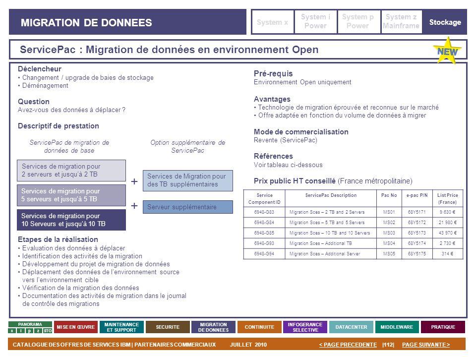 PAGE SUIVANTE >CATALOGUE DES OFFRES DE SERVICES IBM | PARTENAIRES COMMERCIAUXJUILLET 2010|112|< PAGE PRECEDENTE PANORAMA MISE EN ŒUVRE MAINTENANCE ET