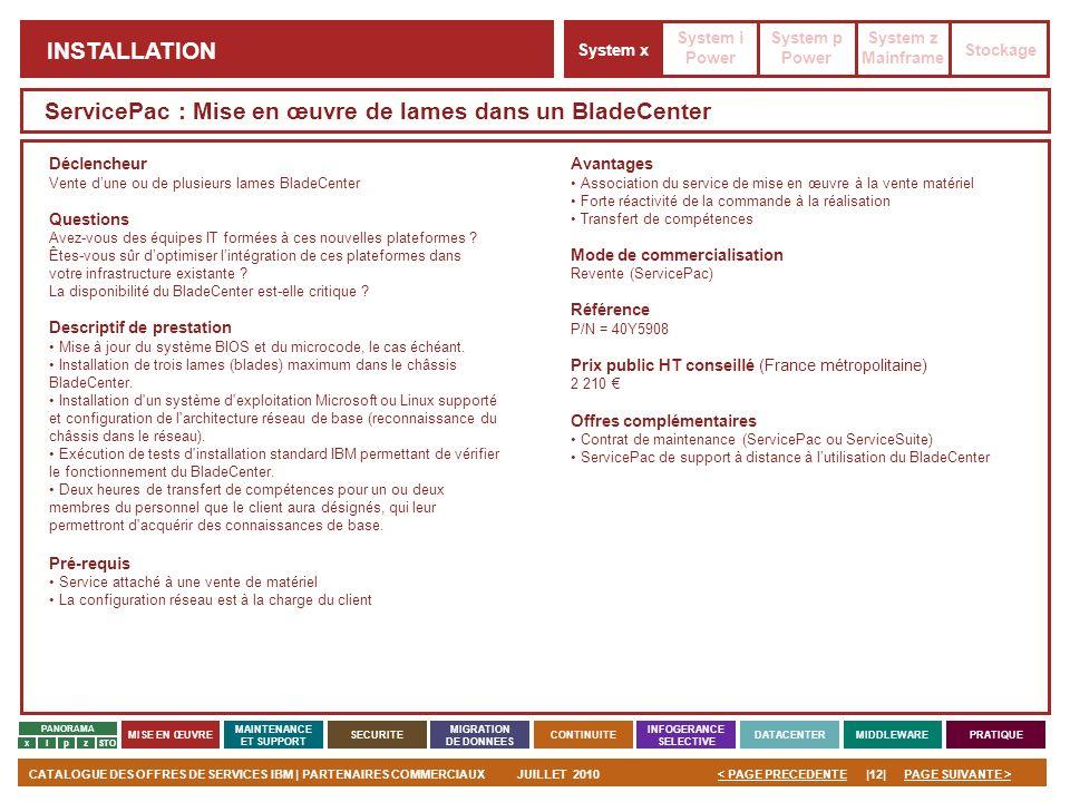 PAGE SUIVANTE >CATALOGUE DES OFFRES DE SERVICES IBM | PARTENAIRES COMMERCIAUXJUILLET 2010|12|< PAGE PRECEDENTE PANORAMA MISE EN ŒUVRE MAINTENANCE ET S