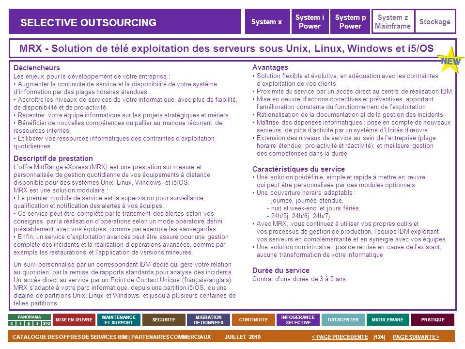 PAGE SUIVANTE >CATALOGUE DES OFFRES DE SERVICES IBM | PARTENAIRES COMMERCIAUXJUILLET 2010|124|< PAGE PRECEDENTE PANORAMA MISE EN ŒUVRE MAINTENANCE ET