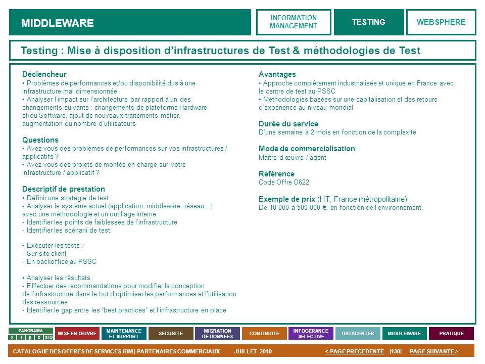 PAGE SUIVANTE >CATALOGUE DES OFFRES DE SERVICES IBM | PARTENAIRES COMMERCIAUXJUILLET 2010|130|< PAGE PRECEDENTE PANORAMA MISE EN ŒUVRE MAINTENANCE ET