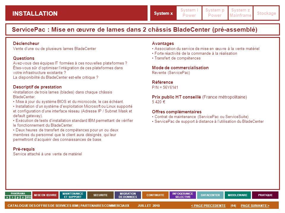 PAGE SUIVANTE >CATALOGUE DES OFFRES DE SERVICES IBM | PARTENAIRES COMMERCIAUXJUILLET 2010|14|< PAGE PRECEDENTE PANORAMA MISE EN ŒUVRE MAINTENANCE ET S