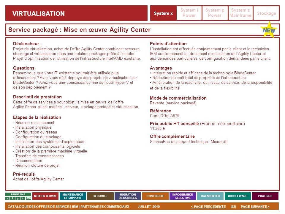 PAGE SUIVANTE >CATALOGUE DES OFFRES DE SERVICES IBM | PARTENAIRES COMMERCIAUXJUILLET 2010|23|< PAGE PRECEDENTE PANORAMA MISE EN ŒUVRE MAINTENANCE ET S