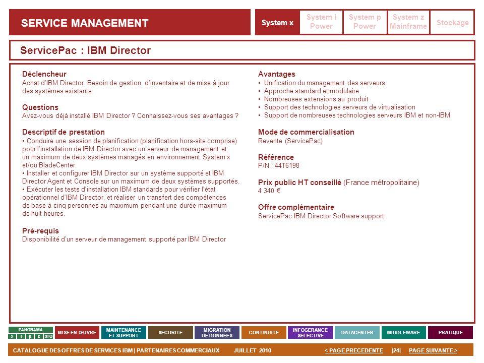 PAGE SUIVANTE >CATALOGUE DES OFFRES DE SERVICES IBM | PARTENAIRES COMMERCIAUXJUILLET 2010|24|< PAGE PRECEDENTE PANORAMA MISE EN ŒUVRE MAINTENANCE ET S