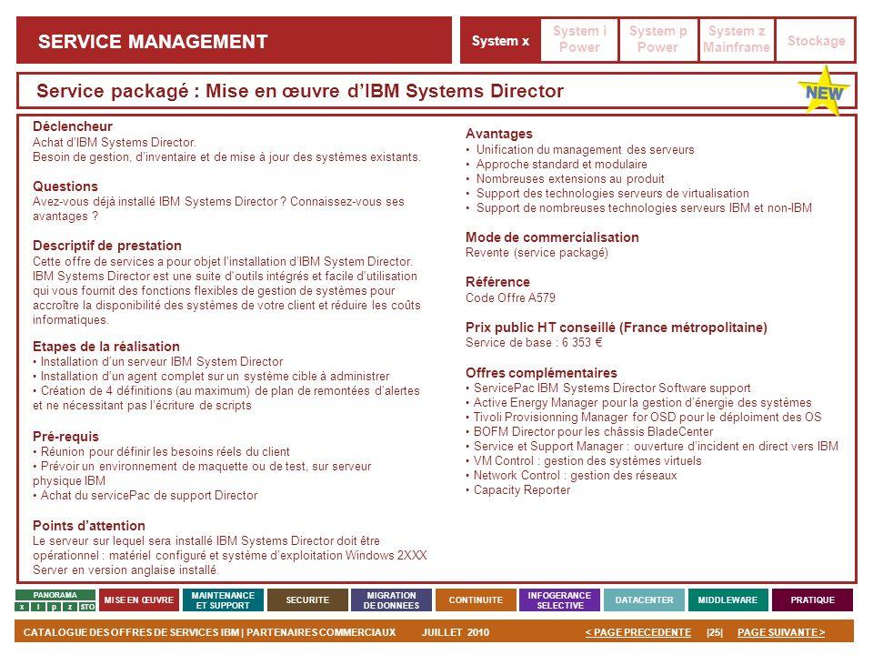 PAGE SUIVANTE >CATALOGUE DES OFFRES DE SERVICES IBM | PARTENAIRES COMMERCIAUXJUILLET 2010|25|< PAGE PRECEDENTE PANORAMA MISE EN ŒUVRE MAINTENANCE ET S