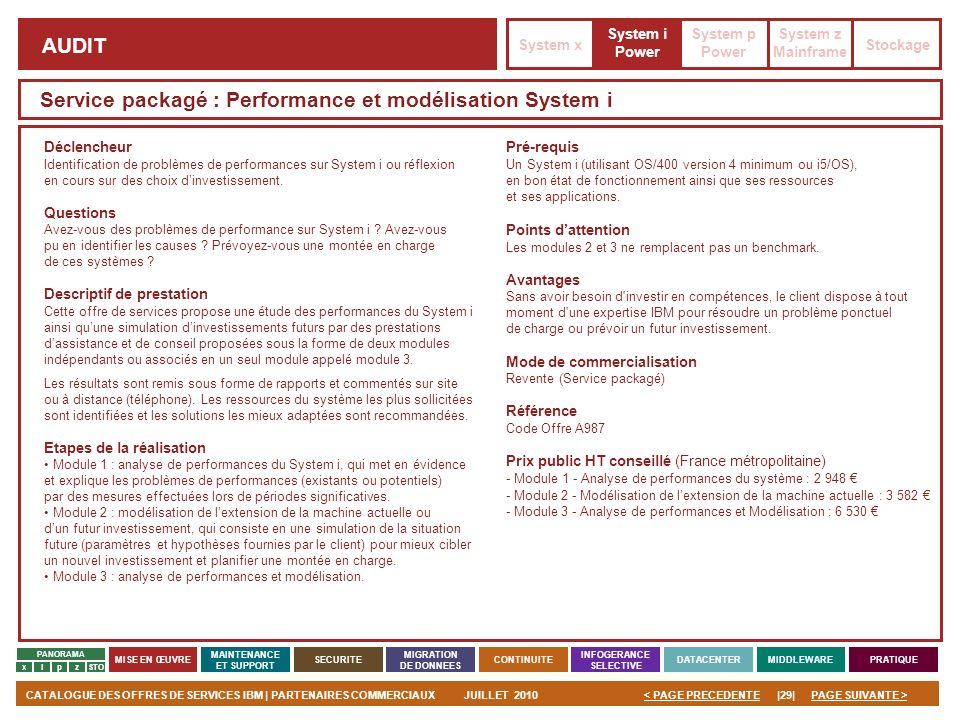 PAGE SUIVANTE >CATALOGUE DES OFFRES DE SERVICES IBM | PARTENAIRES COMMERCIAUXJUILLET 2010|29|< PAGE PRECEDENTE PANORAMA MISE EN ŒUVRE MAINTENANCE ET S