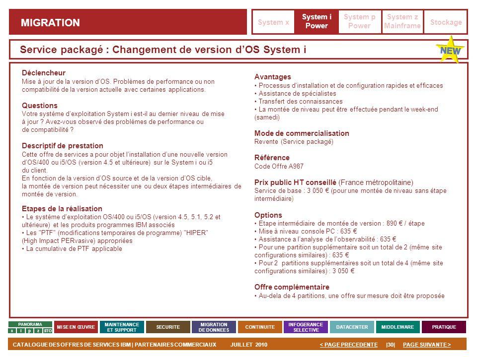 PAGE SUIVANTE >CATALOGUE DES OFFRES DE SERVICES IBM | PARTENAIRES COMMERCIAUXJUILLET 2010|30|< PAGE PRECEDENTE PANORAMA MISE EN ŒUVRE MAINTENANCE ET S