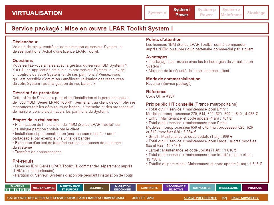 PAGE SUIVANTE >CATALOGUE DES OFFRES DE SERVICES IBM | PARTENAIRES COMMERCIAUXJUILLET 2010|32|< PAGE PRECEDENTE PANORAMA MISE EN ŒUVRE MAINTENANCE ET S