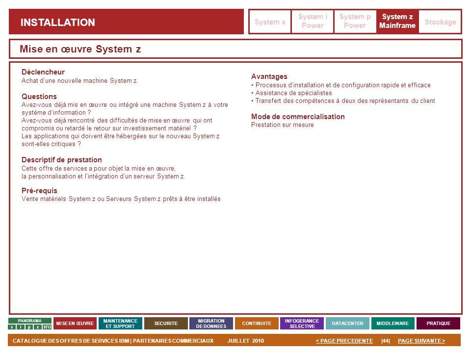 PAGE SUIVANTE >CATALOGUE DES OFFRES DE SERVICES IBM | PARTENAIRES COMMERCIAUXJUILLET 2010|44|< PAGE PRECEDENTE PANORAMA MISE EN ŒUVRE MAINTENANCE ET S