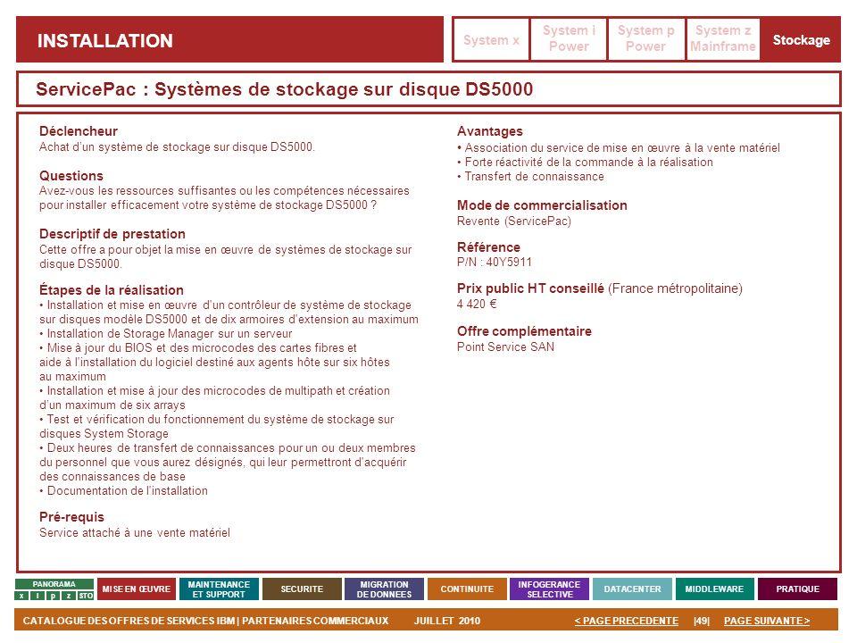 PAGE SUIVANTE >CATALOGUE DES OFFRES DE SERVICES IBM | PARTENAIRES COMMERCIAUXJUILLET 2010|49|< PAGE PRECEDENTE PANORAMA MISE EN ŒUVRE MAINTENANCE ET S