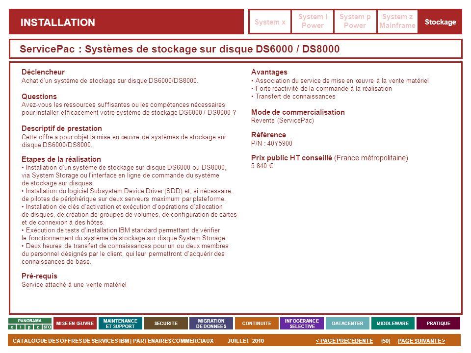 PAGE SUIVANTE >CATALOGUE DES OFFRES DE SERVICES IBM | PARTENAIRES COMMERCIAUXJUILLET 2010|50|< PAGE PRECEDENTE PANORAMA MISE EN ŒUVRE MAINTENANCE ET S