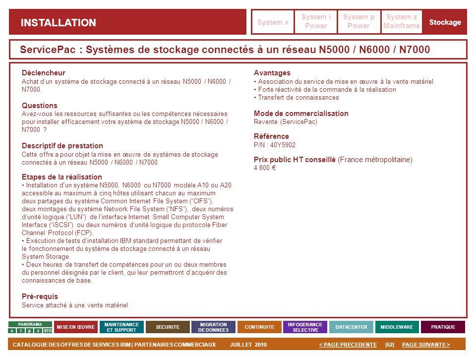 PAGE SUIVANTE >CATALOGUE DES OFFRES DE SERVICES IBM | PARTENAIRES COMMERCIAUXJUILLET 2010|52|< PAGE PRECEDENTE PANORAMA MISE EN ŒUVRE MAINTENANCE ET S
