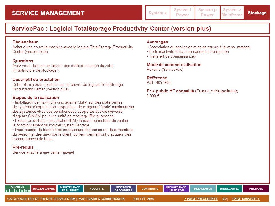 PAGE SUIVANTE >CATALOGUE DES OFFRES DE SERVICES IBM | PARTENAIRES COMMERCIAUXJUILLET 2010|57|< PAGE PRECEDENTE PANORAMA MISE EN ŒUVRE MAINTENANCE ET S
