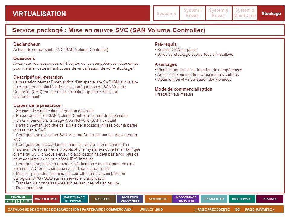 PAGE SUIVANTE >CATALOGUE DES OFFRES DE SERVICES IBM | PARTENAIRES COMMERCIAUXJUILLET 2010|60|< PAGE PRECEDENTE PANORAMA MISE EN ŒUVRE MAINTENANCE ET S