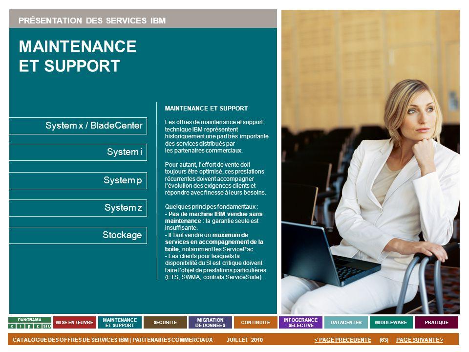 PAGE SUIVANTE >CATALOGUE DES OFFRES DE SERVICES IBM | PARTENAIRES COMMERCIAUXJUILLET 2010|63|< PAGE PRECEDENTE PANORAMA MISE EN ŒUVRE MAINTENANCE ET S