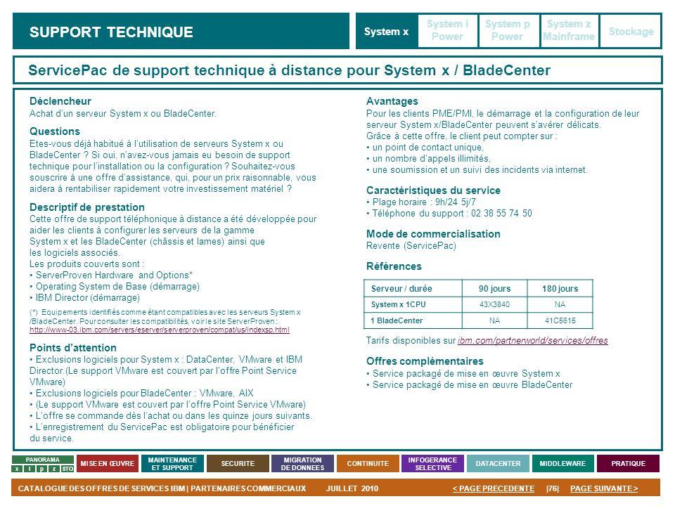 PAGE SUIVANTE >CATALOGUE DES OFFRES DE SERVICES IBM | PARTENAIRES COMMERCIAUXJUILLET 2010|76|< PAGE PRECEDENTE PANORAMA MISE EN ŒUVRE MAINTENANCE ET S