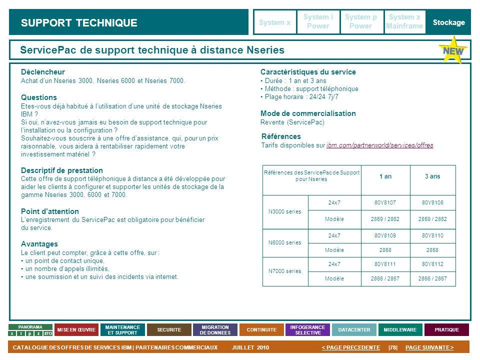 PAGE SUIVANTE >CATALOGUE DES OFFRES DE SERVICES IBM | PARTENAIRES COMMERCIAUXJUILLET 2010|78|< PAGE PRECEDENTE PANORAMA MISE EN ŒUVRE MAINTENANCE ET S