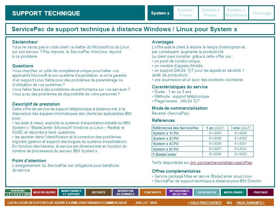 PAGE SUIVANTE >CATALOGUE DES OFFRES DE SERVICES IBM | PARTENAIRES COMMERCIAUXJUILLET 2010|83|< PAGE PRECEDENTE PANORAMA MISE EN ŒUVRE MAINTENANCE ET S