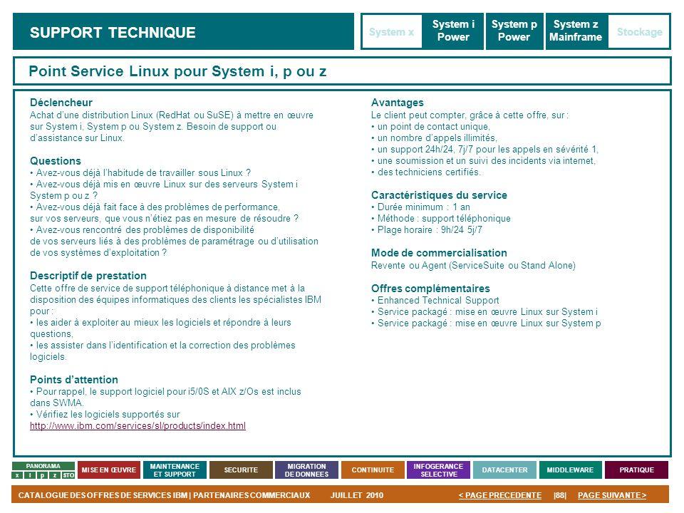 PAGE SUIVANTE >CATALOGUE DES OFFRES DE SERVICES IBM | PARTENAIRES COMMERCIAUXJUILLET 2010|88|< PAGE PRECEDENTE PANORAMA MISE EN ŒUVRE MAINTENANCE ET S
