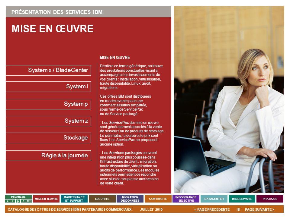 PAGE SUIVANTE >CATALOGUE DES OFFRES DE SERVICES IBM | PARTENAIRES COMMERCIAUXJUILLET 2010|9|< PAGE PRECEDENTE PANORAMA MISE EN ŒUVRE MAINTENANCE ET SU