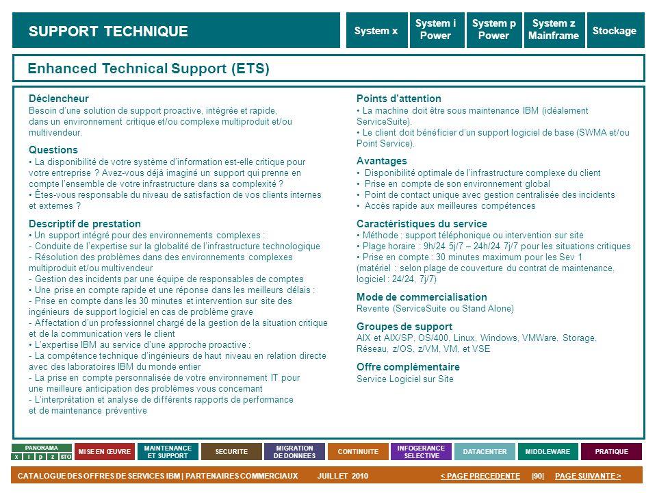 PAGE SUIVANTE >CATALOGUE DES OFFRES DE SERVICES IBM | PARTENAIRES COMMERCIAUXJUILLET 2010|90|< PAGE PRECEDENTE PANORAMA MISE EN ŒUVRE MAINTENANCE ET S